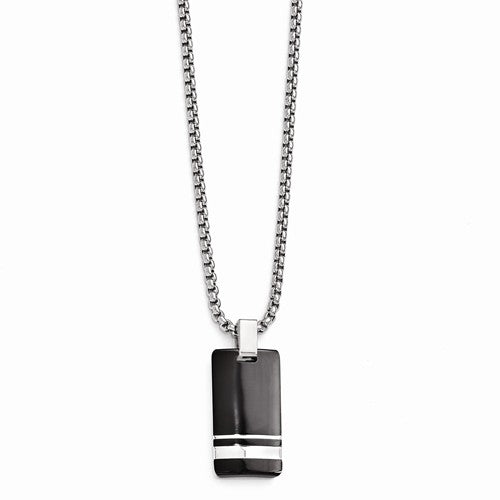 Black Ti And Sterling Silver Pendant Necklace