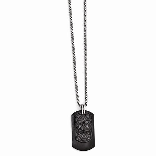 Black Ti And Sterling Silver Dog Tag Pendant Necklace