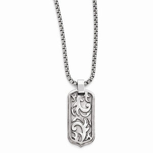 Titanium Cable Dog Tag Pendant Necklace