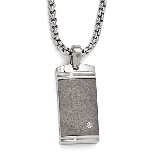 Titanium.06ct Diamondwith ArgentiumSterling Silver Necklace