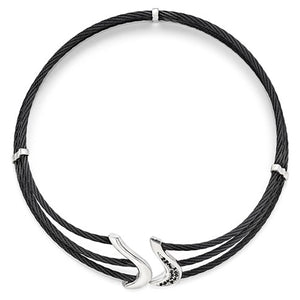 Black Ti And Sterling Silver Black Spinel Cable Flex Collar