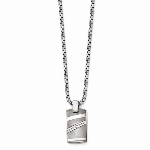 Titanium .18ctw Diamond With Sterling Silver Bezel Pendant Neck