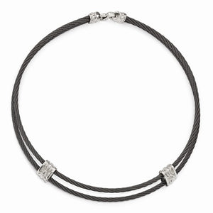 Titanium And Sterling Silver White Sapphire Cable Necklace