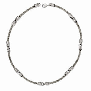 Titanium Brushed Cable And Polished Link Necklace