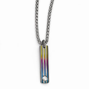 Titanium Grooved Anodized And White Sapphire 2in Ex Necklace