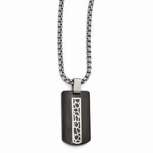 Black Ti And Sterling Silver Cobblestone Necklace
