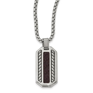 Stainless Steel Marsala Carbon Fiber Dog Tag Necklace