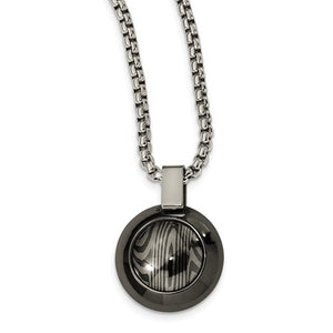 Timoku And Black Ti Round Pendant Necklace
