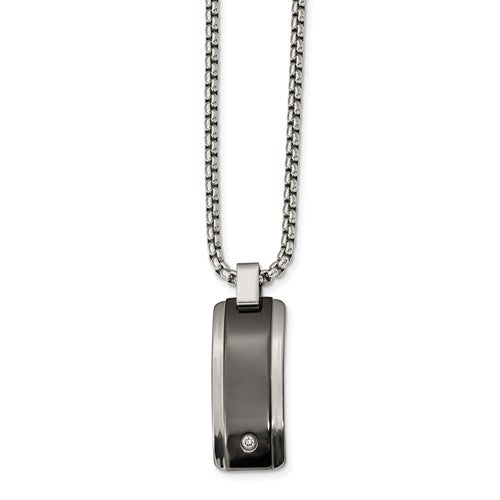 Edward Mirell Black and Gray Titanium Diamond Necklace