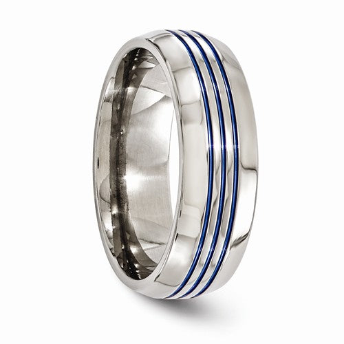 Titanium Triple Groove Blue Anodized 8mm Band