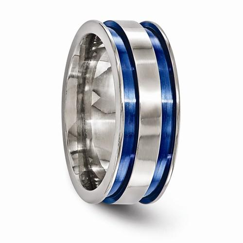 Titanium Grooved Blue Anodized 8.5mm Band