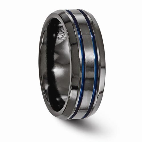 Black Ti Beveled And Grooved Blue Anodized 8mm Band