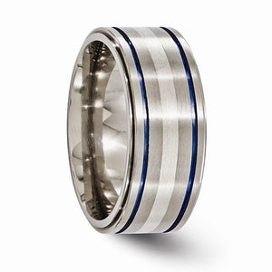 Titanium With Argentium Sterling Silver Anodized 10mm Band