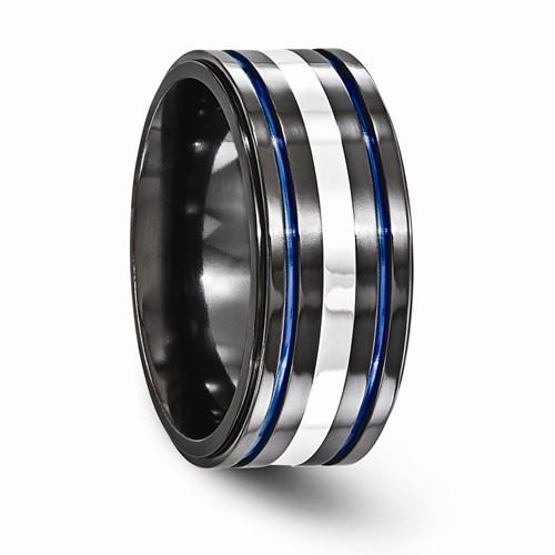 Black Ti Sterling 925 And Grooved Blue Anodized Band