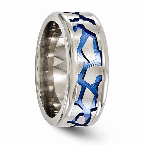 Titanium Blue Anodized Brushed And Polished 9mm Band