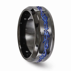 Black Ti Patterned Blue Anodized Polished 9mm Band