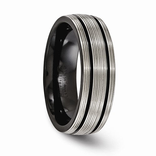Black Ti Grooves And Textured Lines 7mm Band