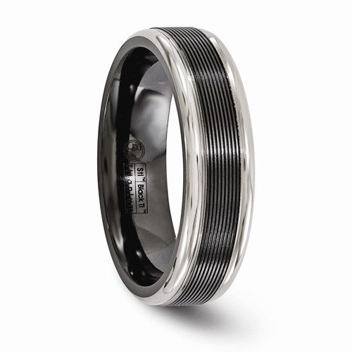Black TI -Grooved With Polished Edge6.5mm Band