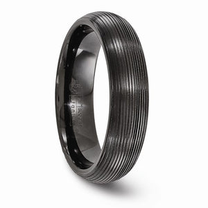 Titanium Black Ti Domed Textured Lines 6mm Band