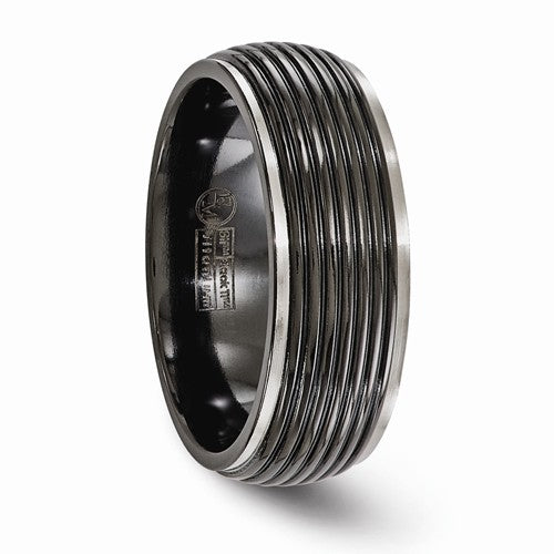 Titanium Black Ti Grooved 8mm Band