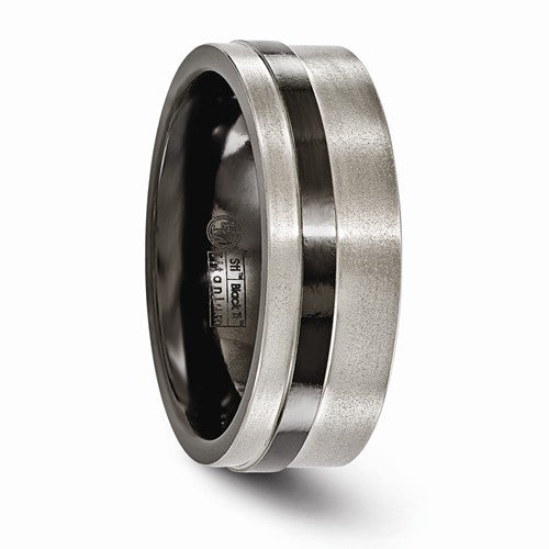 Titanium Black Ti Flat Cut Edge Brushed 8mm Band