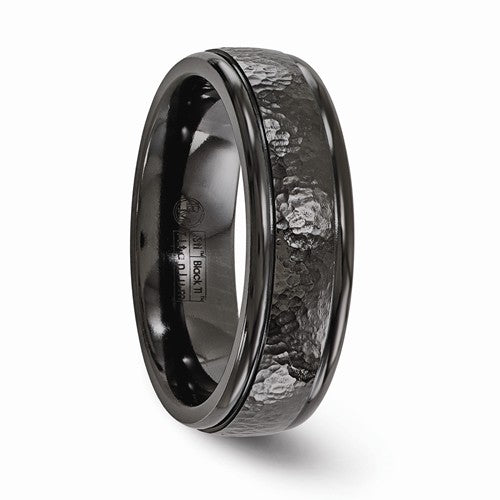 Titanium Black Ti Hammered 7mm Band