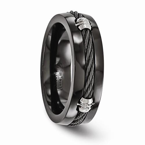Titanium Black Ti And Cable 7mm Band