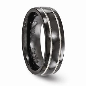 Titanium Black Ti And Grey Grooved 7mm Band