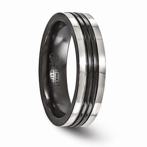 Black Ti Grey Grooves 6mm Band