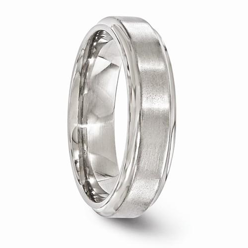 Titanium Brushed And Polished Beveled 6mm Band
