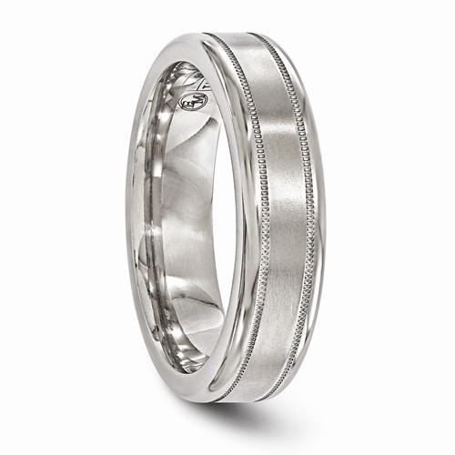 Titanium Brushed And Polished Millgrain 6mm Band