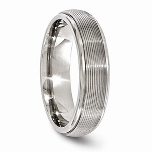 Titanium Polished Textured Domed 6mm Band