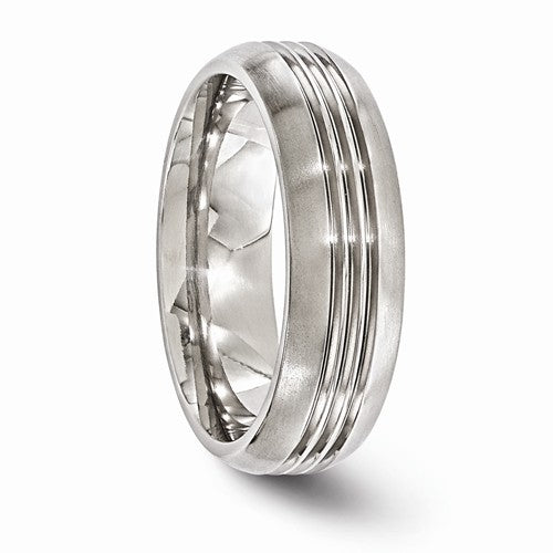 Titanium Polished Grooved 7mm Band