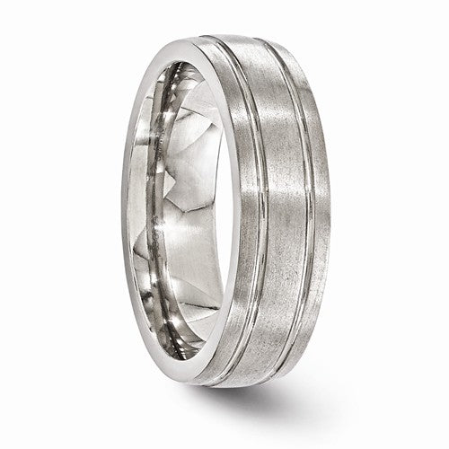 Titanium Brushed And Polished Grooved 7mm Band