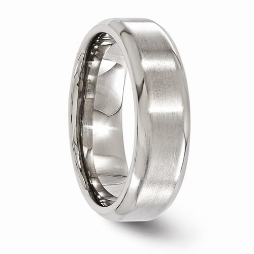 Titanium Brushed And Polished Beveled 7mm Band