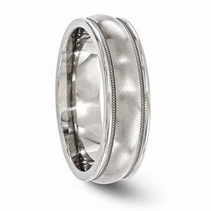 Titanium Brushed And Polished Milgrain 6.5mm Band