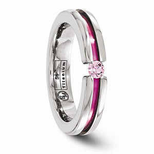 Titanium Pink Sapphire And Anodized Grooved 4mm Band