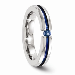 Titanium Sapphire And Blue Anodized Grooved 4mm Band