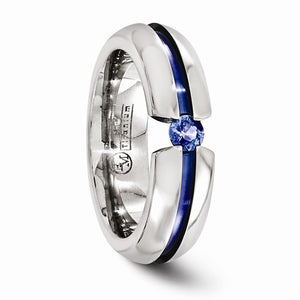 Titanium Sapphire And Blue Anodized 6mm Band
