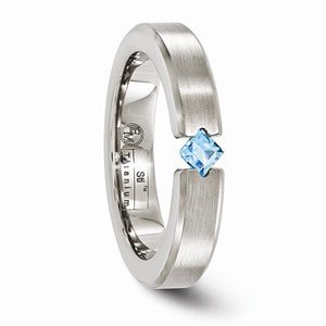 Titanium Brushed Blue Topaz 4mm Band