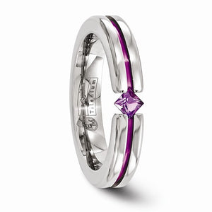 Titanium Amethyst And Pink Anodized 4mm Band