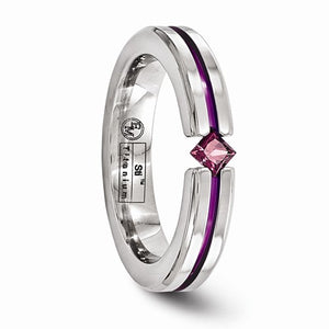 Titanium Rhodolite Garnet And Anodized 4mm Band