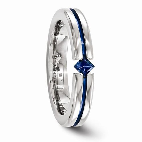 Titanium Sapphire And Blue Anodized 4mm Band