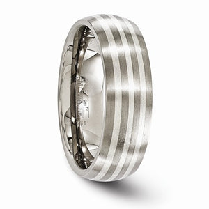 Titanium With Sterling Silver Inlay Brushed 7mm Band