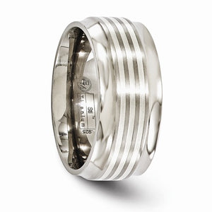 Titanium With Sterling Silver Inlay Beveled Edge 9mm Band