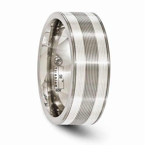 Titanium With Sterling Silver Inlay Grooved 8.5mm Band