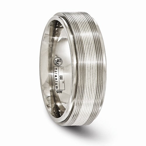 Titanium With Sterling Silver Textured Line Step Edge 7.5mm Band
