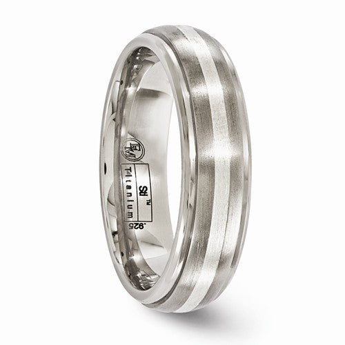 Titanium Brushed And Polished With Sterling Silver 6mm Band