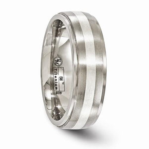 Titanium Brushed And Polished With Sterling Silver 7mm Band