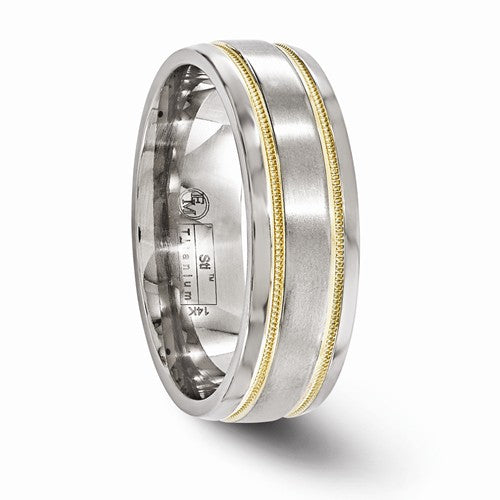 Titanium And 14K Brushed And Polished Millgrain 7mm Band
